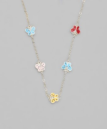 Pastel Enamel & Gold Butterfly Necklace