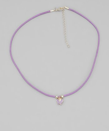 Purple Cord Butterfly Necklace
