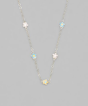 Gold-Plated Enamel Flower Necklace