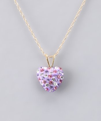 Purple Crystal Heart Necklace - Girls