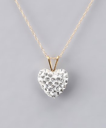 Fuzion Creations White Crystal Heart Necklace - Girls