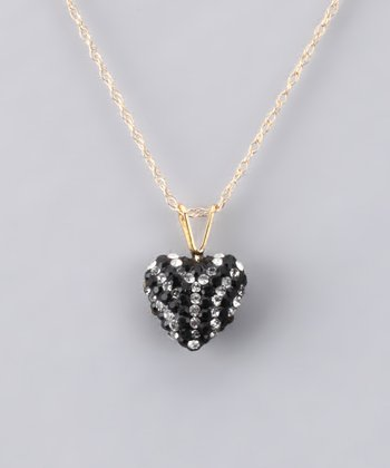 Zebra Crystal Heart Necklace - Girls