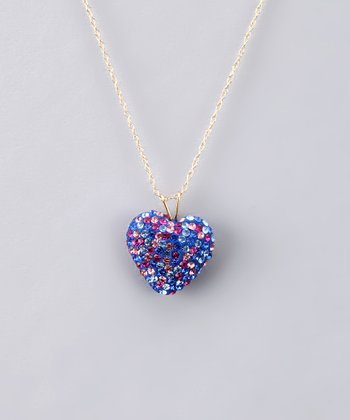 Pink & Dark Blue Crystal Heart Necklace - Women