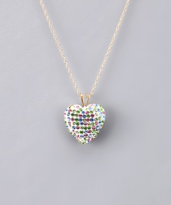 Pink & Green Crystal Heart Necklace - Women