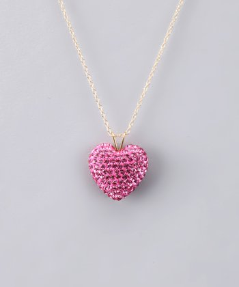 Rose Crystal Heart Necklace - Women