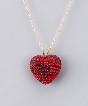 Red Crystal Heart Necklace - Women