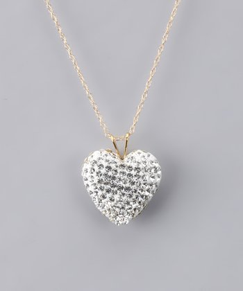 White Crystal Heart Necklace - Women