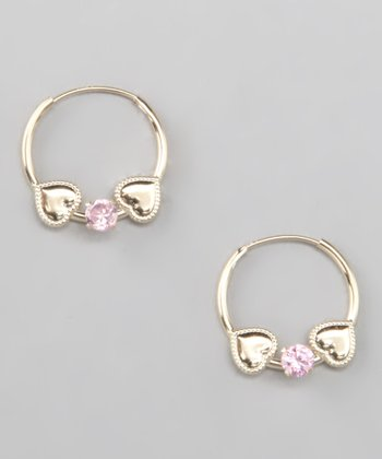 14k Pink Topaz Hoop Earrings