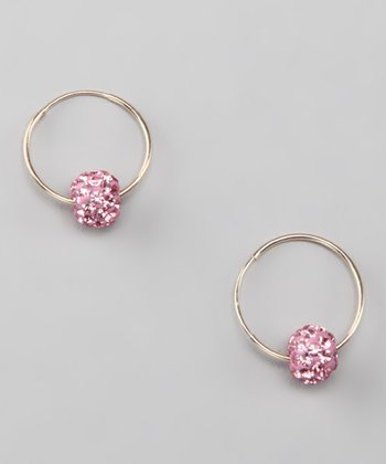 Light Rose & Gold Crystal Hoop Earrings