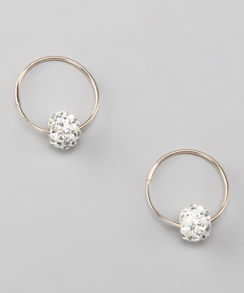 White & Gold Crystal Hoop Earrings