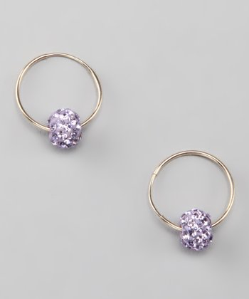 Violet & Gold Crystal Hoop Earrings