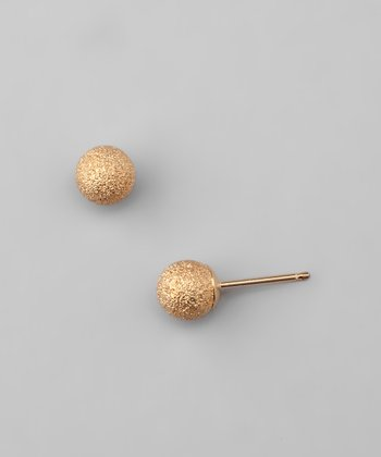 14k Gold Laser-Cut Ball Stud Earrings