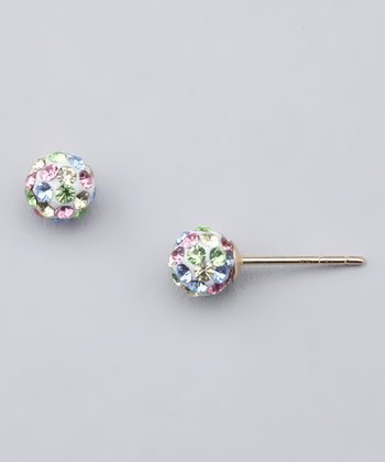 Pastel Crystal Ball Stud Earrings