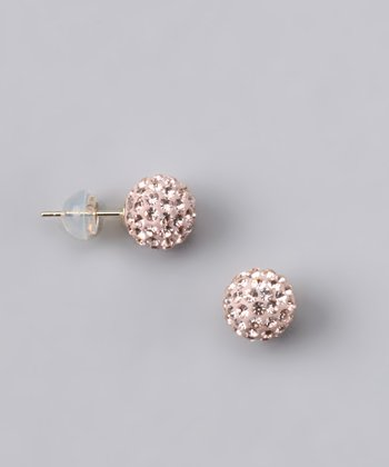 Peach Crystal Ball Stud Earrings - Women