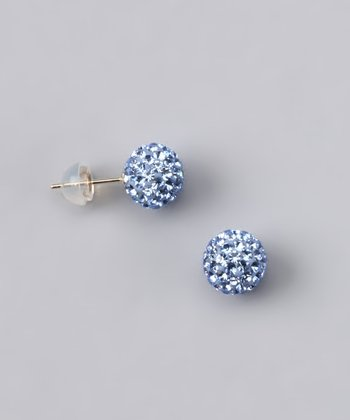 Sapphire Crystal Ball Stud Earrings - Women