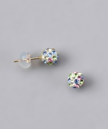 Pink & Blue Crystal Ball Stud Earrings - Women