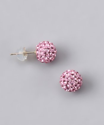Gold & Rose Crystal Ball Stud Earrings