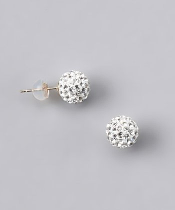 White Crystal Ball Stud Earrings - Women