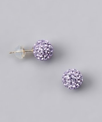 Violet Crystal Ball Stud Earrings - Women