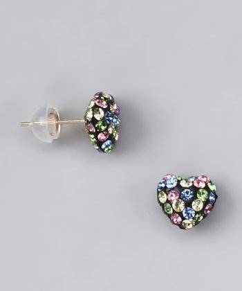 Pink & Black Crystal Heart Stud Earrings - Women