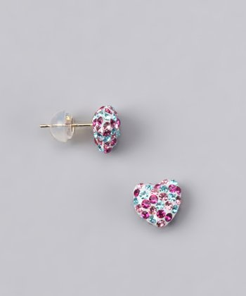 Pink & Blue Crystal Heart Stud Earrings - Women
