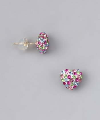 Pink & Green Crystal Heart Stud Earrings - Women