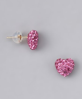 Rose Crystal Heart Stud Earrings - Women