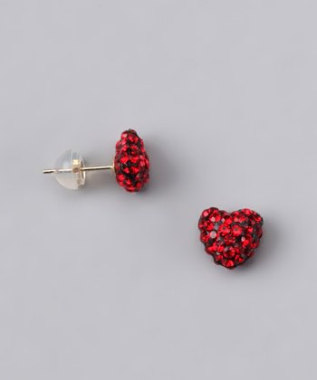 Red Crystal Heart Stud Earrings - Women