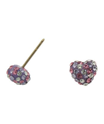 Pink Crystal & Gold Heart Stud Earrings