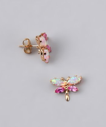 Opal & Pink Sapphire Dragonfly Earrings