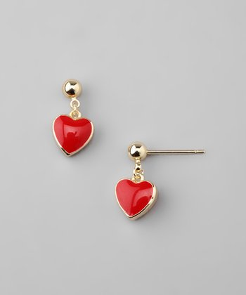Red & Gold Heart Dangle Earrings