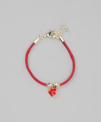 Red & Gold Heart Cord Bracelet