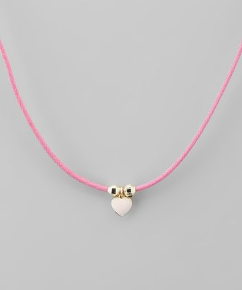 Pink & Gold Heart Cord Necklace
