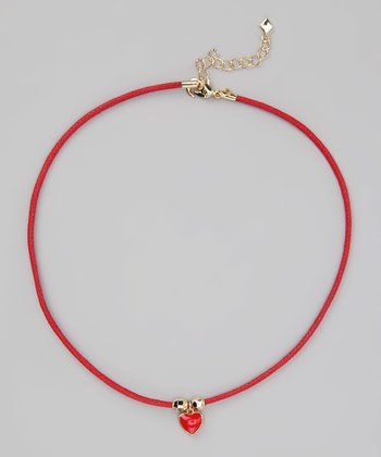 Red & Gold Heart Cord Necklace