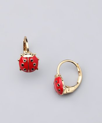 Red & Gold Ladybug Earrings