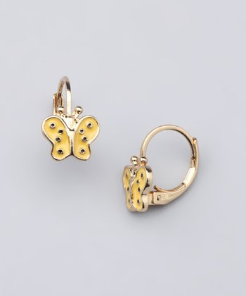 Yellow & Gold Butterfly Leverback Earrings