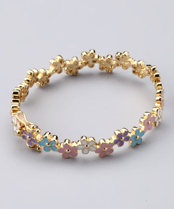 Pink & Gold Flower Bangle