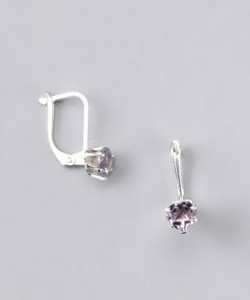 Amethyst Heart Earrings - Women
