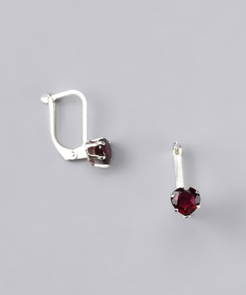 Fuzion Creations Garnet Heart Earrings - Women