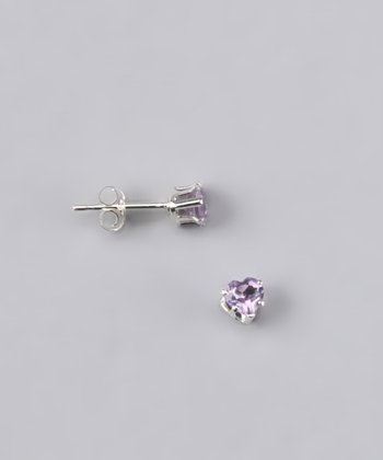 Amethyst Heart Stud Earrings - Girls
