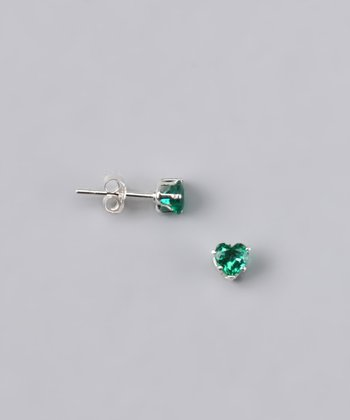 Emerald Heart Stud Earrings - Girls
