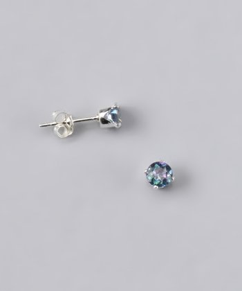 Light Blue Topaz Round Stud Earrings - Girls