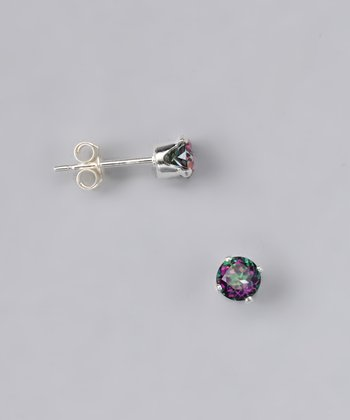 Green Topaz Round Stud Earrings - Girls