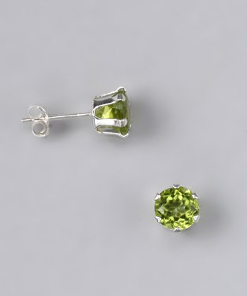 Peridot Round Stud Earrings - Women
