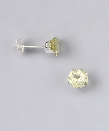 Lemon Quartz Round Stud Earrings - Women