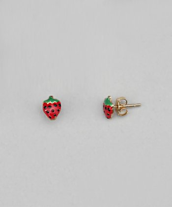 Gold & Red Strawberry Earrings