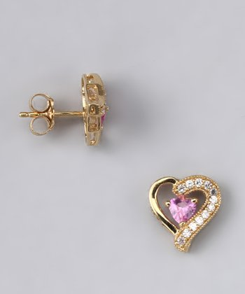 Pink Sapphire & Gold Heart Stud Earrings - Women