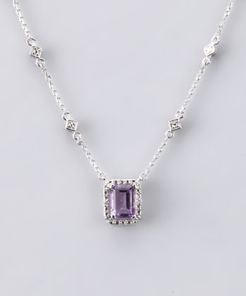 Purple Gemstone Radiant Necklace - Women