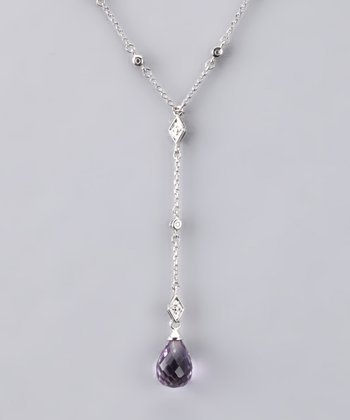 Purple Gemstone Teardrop Necklace - Women