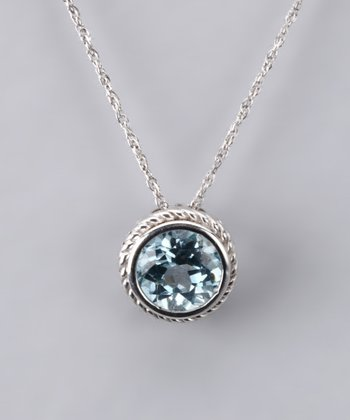 Sky Blue Topaz Round Necklace